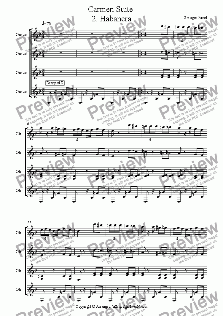 page one of Carmen Suite for 4 gtrs No 2 Habanera
