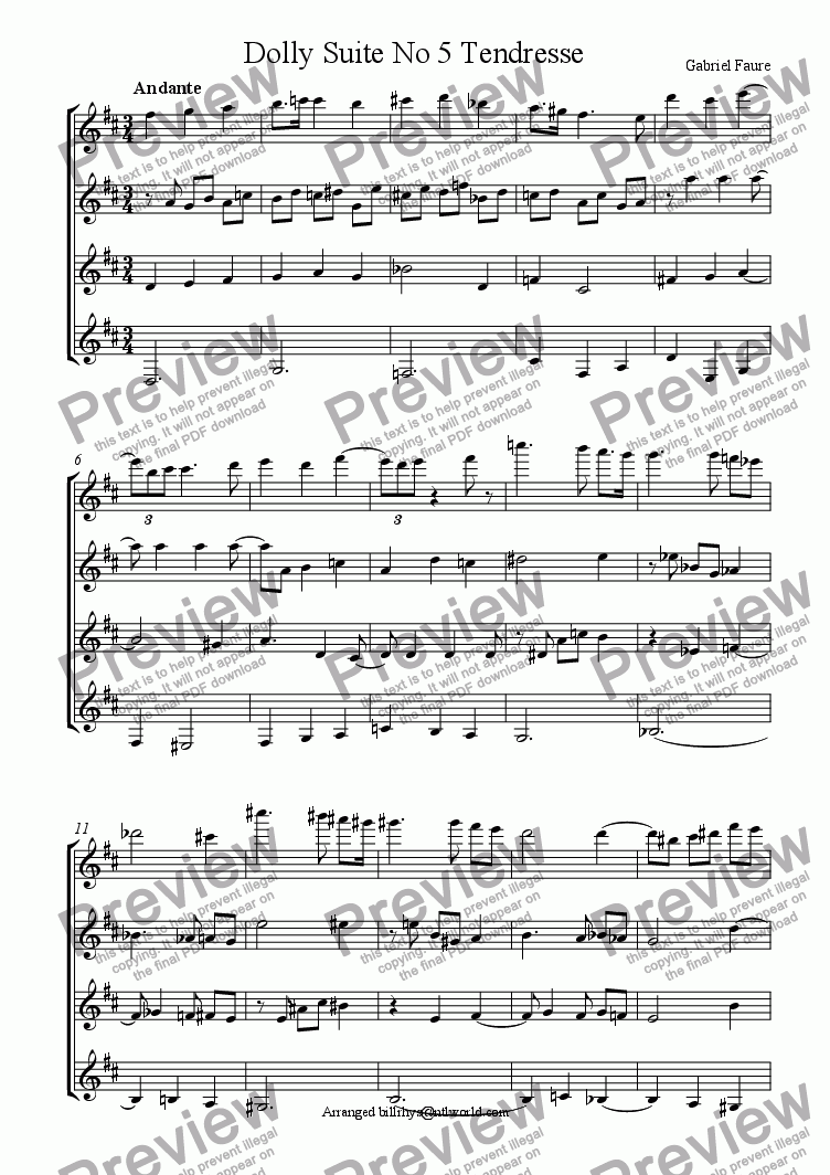 page one of The Dolly Suite No 5 Tendresse