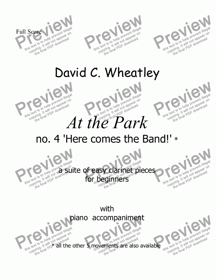page one of At the Park no 4 Here comes the band! by David Wheatley for Bb clarinet and piano