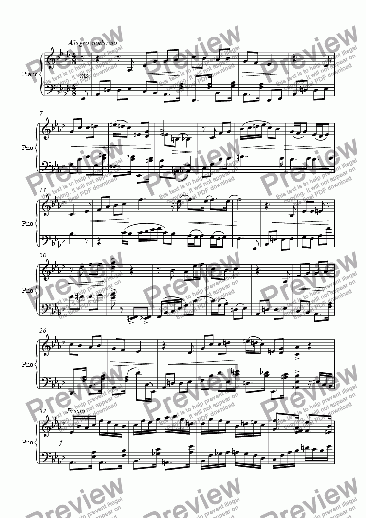 page one of Piano Sonata 3rd Movt.