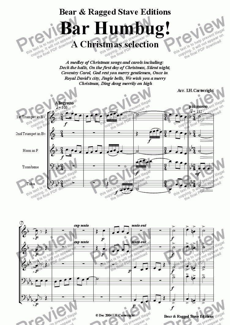 page one of Bar Humbug! a christmas selection for brass quintet
