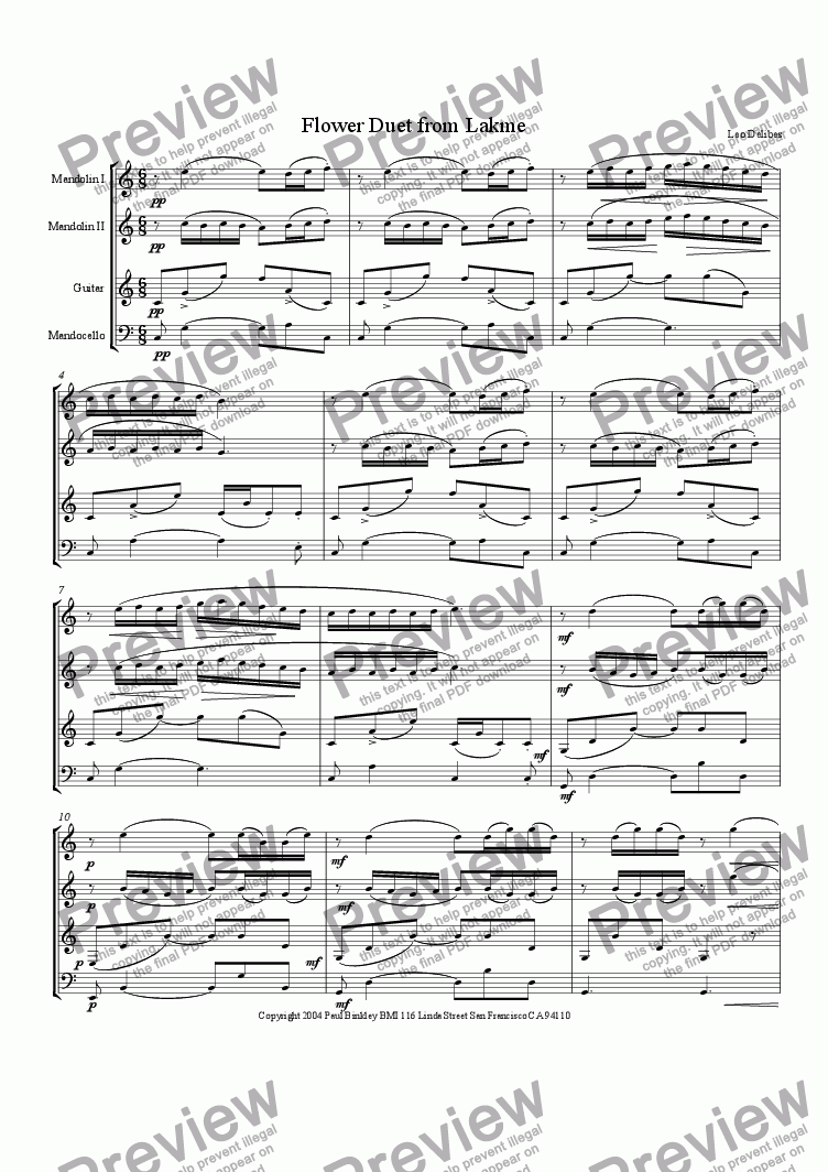 page one of Flower Duet (Sous le Dome Epais) from Lakme