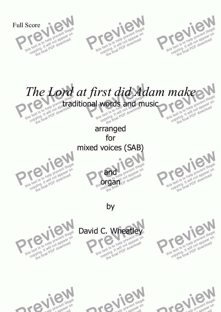 page one of The Lord at first did Adam make for mixed voices (SAB + organ) by David Wheatley