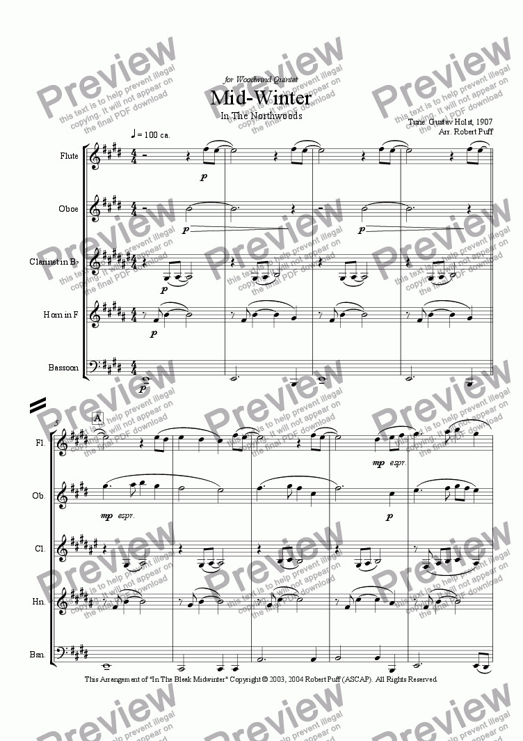 page one of Mid - Winter In The Northwoods (woodwind quintet)