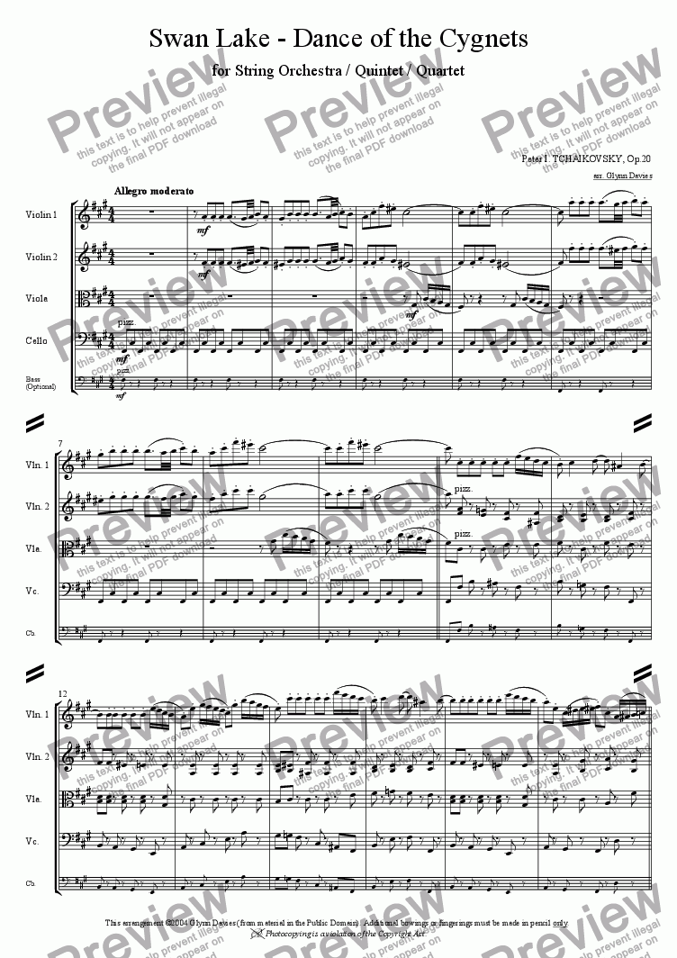 page one of Swan Lake - Dance of the Cygnets