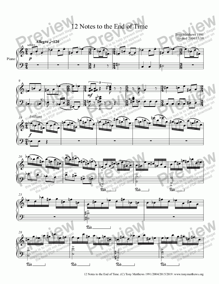 page one of 12 Notes to the End of Time (Piano Solo)