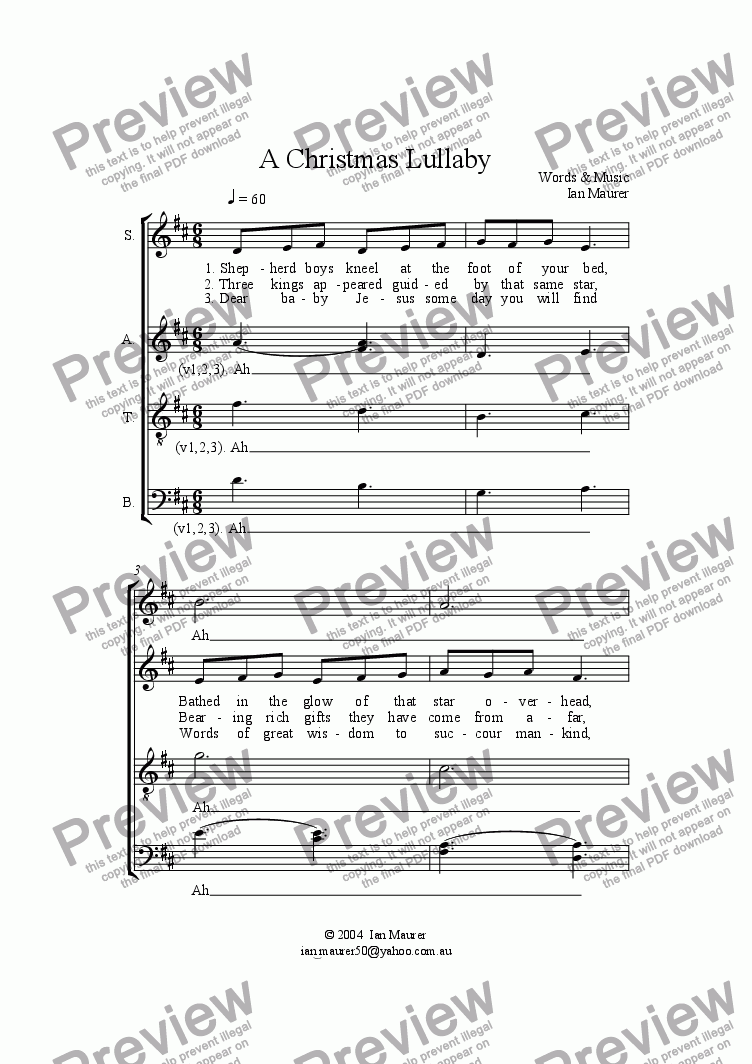Christmas Lullaby.A Christmas Lullaby For Choir By Ian Maurer Sheet Music Pdf File To Download