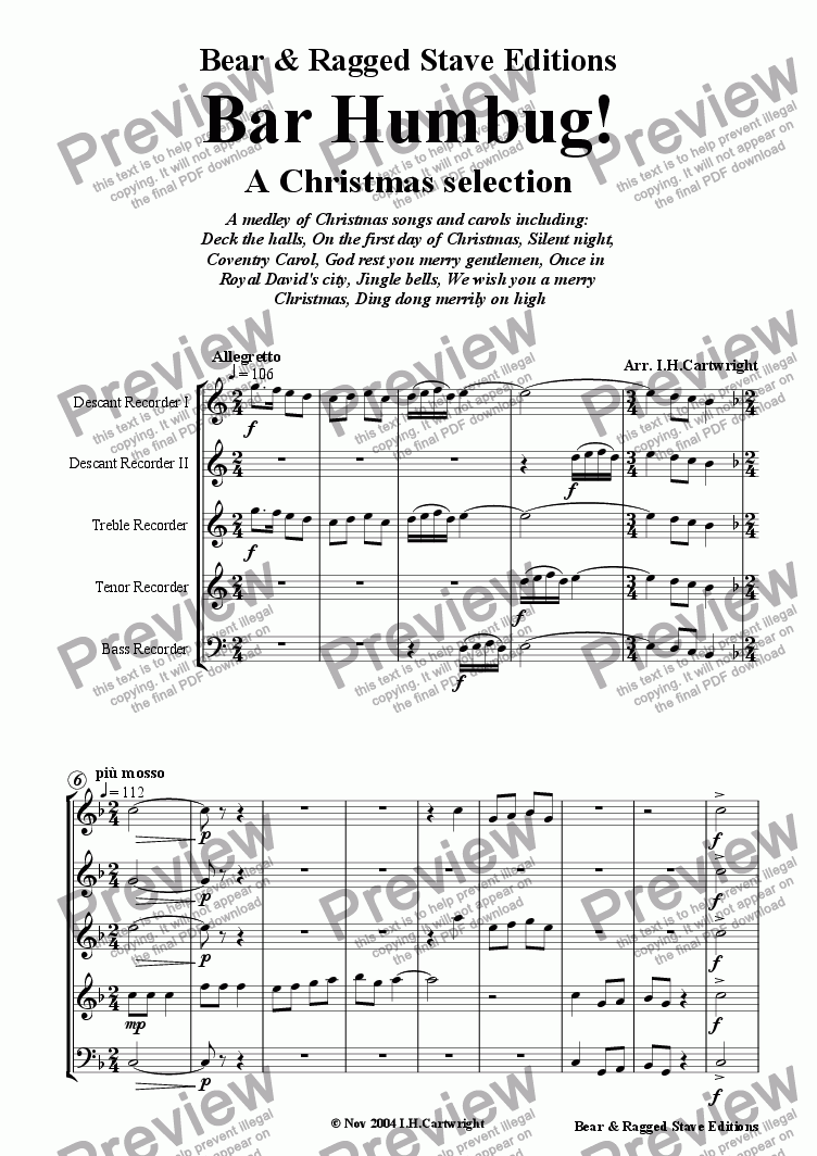 page one of Bar Humbug! - a Christmas selection for recorder quintet