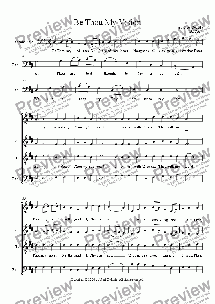 page one of Be Thou My Vision (SATB)