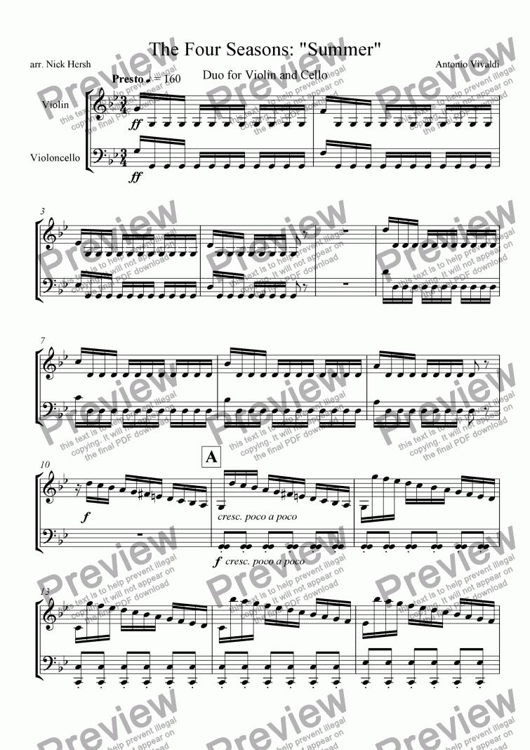 The Four Seasons Summer Presto Violin Cello Duo