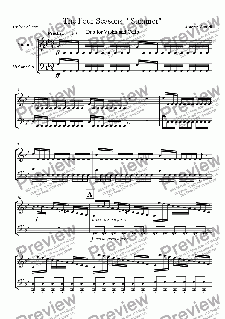 The Four Seasons - Summer - Presto [Violin/Cello Duo] for Large mixed  ensemble by Antonio Vivaldi - Sheet Music PDF file to download