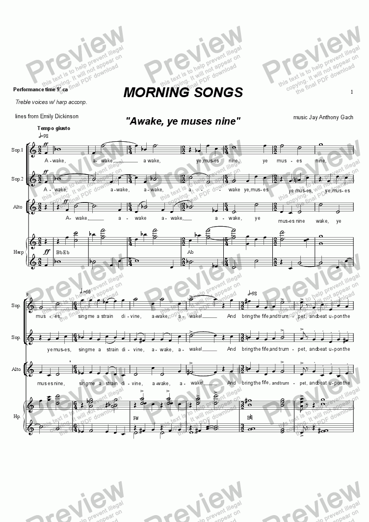 page one of Morning Songs (treble voices & harp)