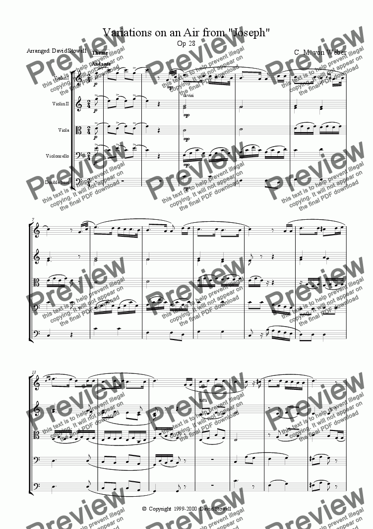 page one of Variations on a theme from 'Joseph'