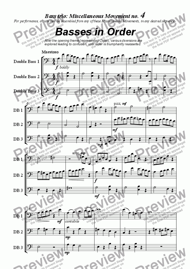 page one of Miscellaneous Movement no 4 'Basses In Order'