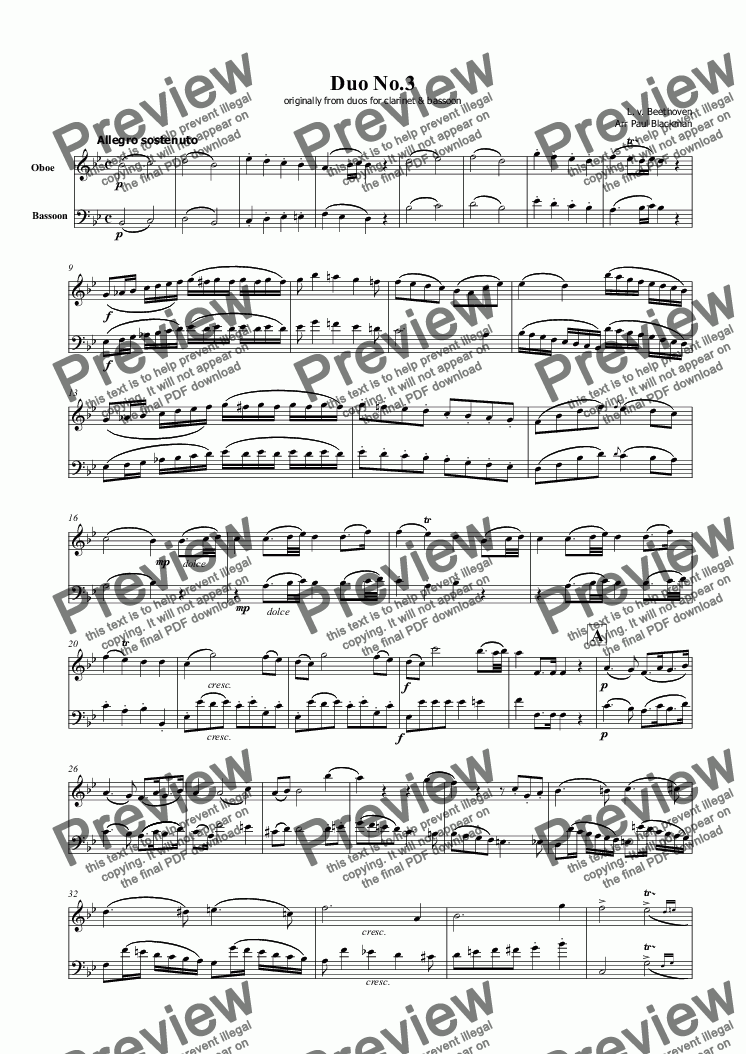 page one of Beethoven Duo No. 3 for Oboe and Bassoon