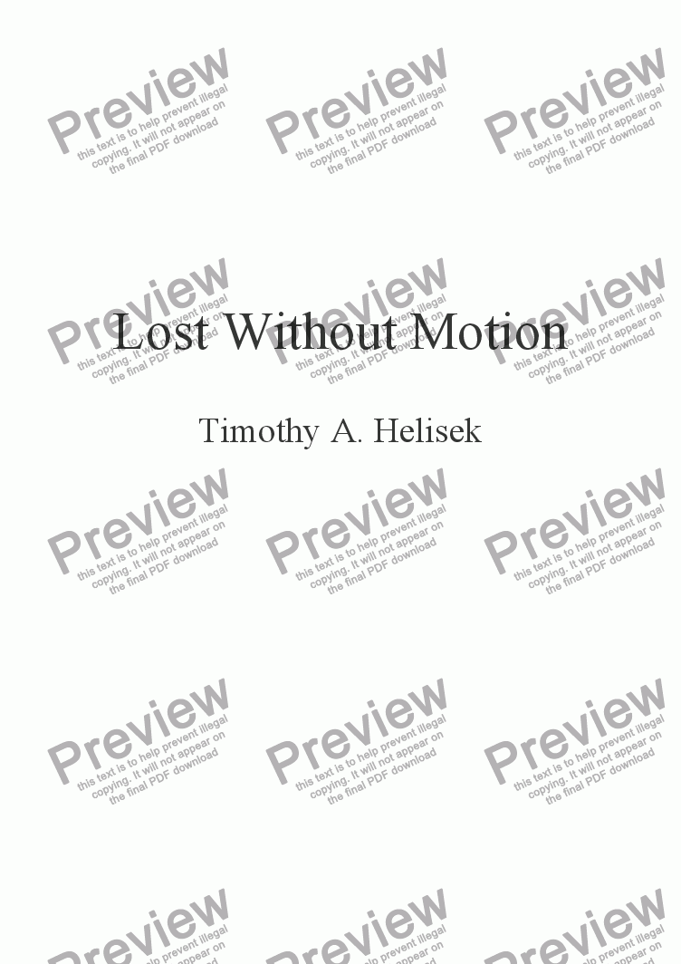 page one of Lost Without Motion