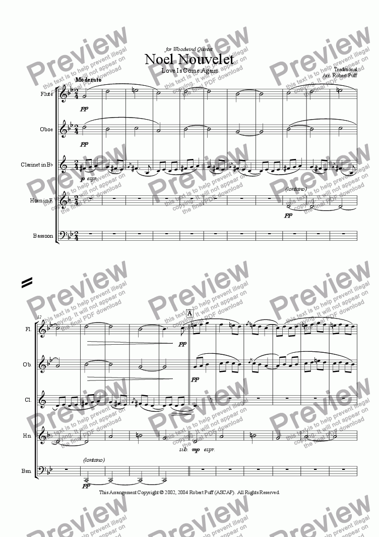 page one of Noel Nouvelet (woodwind quintet)