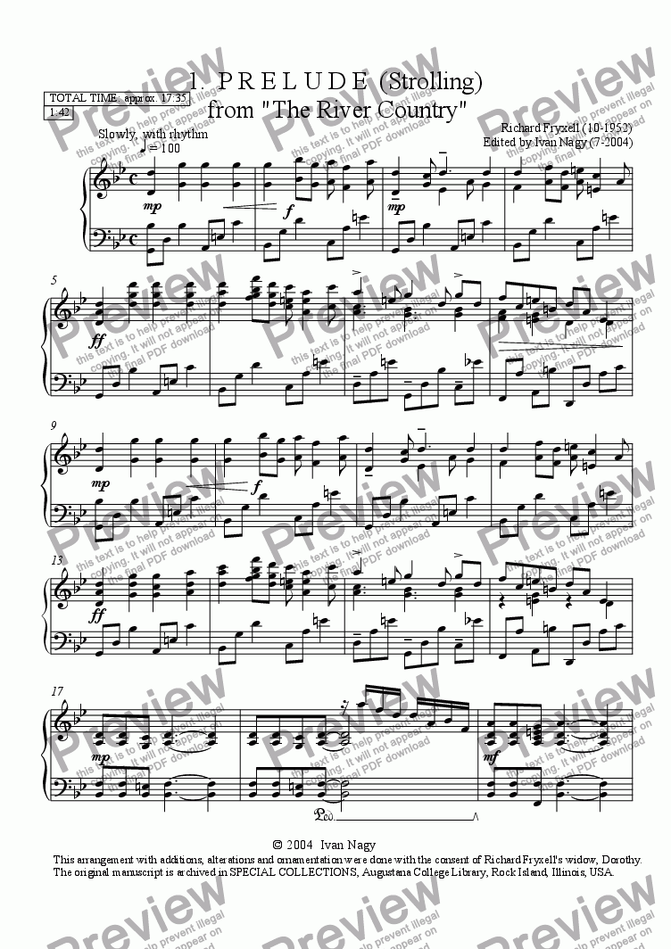 page one of THE RIVER COUNTRY:  ...Complete, 5 movements.... for piano