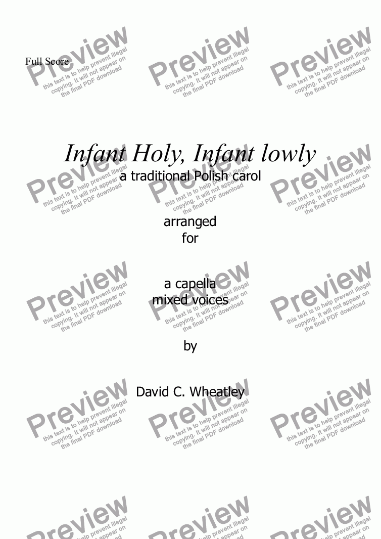page one of Infant Holy, infant lowly for mixed voices (a capella SATB)