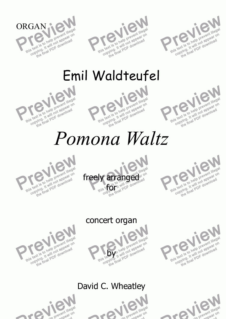 page one of Waldteufel - Waltz 'Pomona' for organ solo