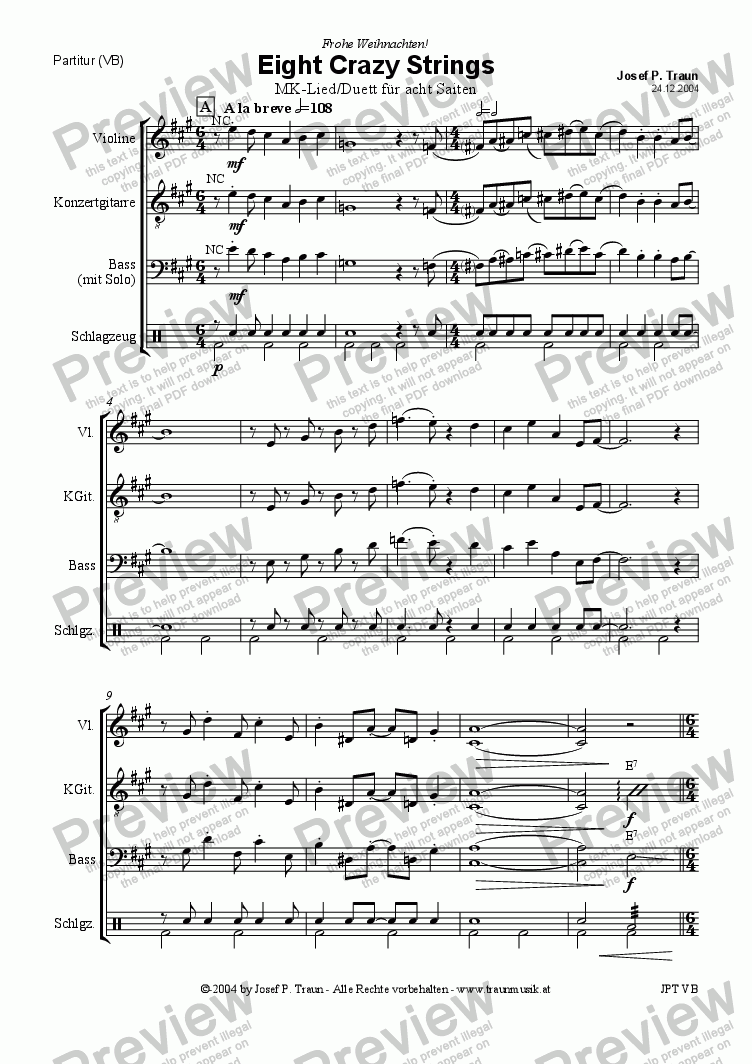 page one of Eight Crazy Strings (VB/Score & Parts)