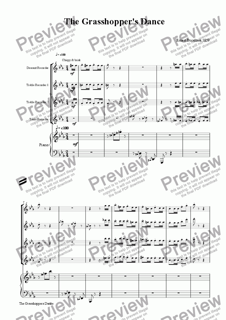 page one of The Grasshopper's Dance [rec or flute 4tet+pno]