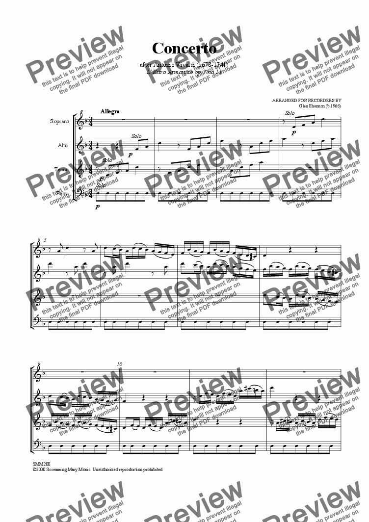 page one of Concerto no 11 from L'Estro Armonico for SATB
