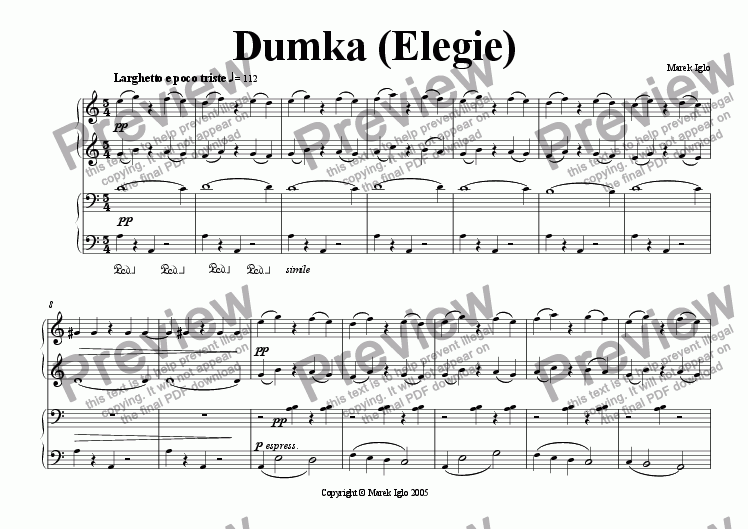 page one of Dumka (Elegie)