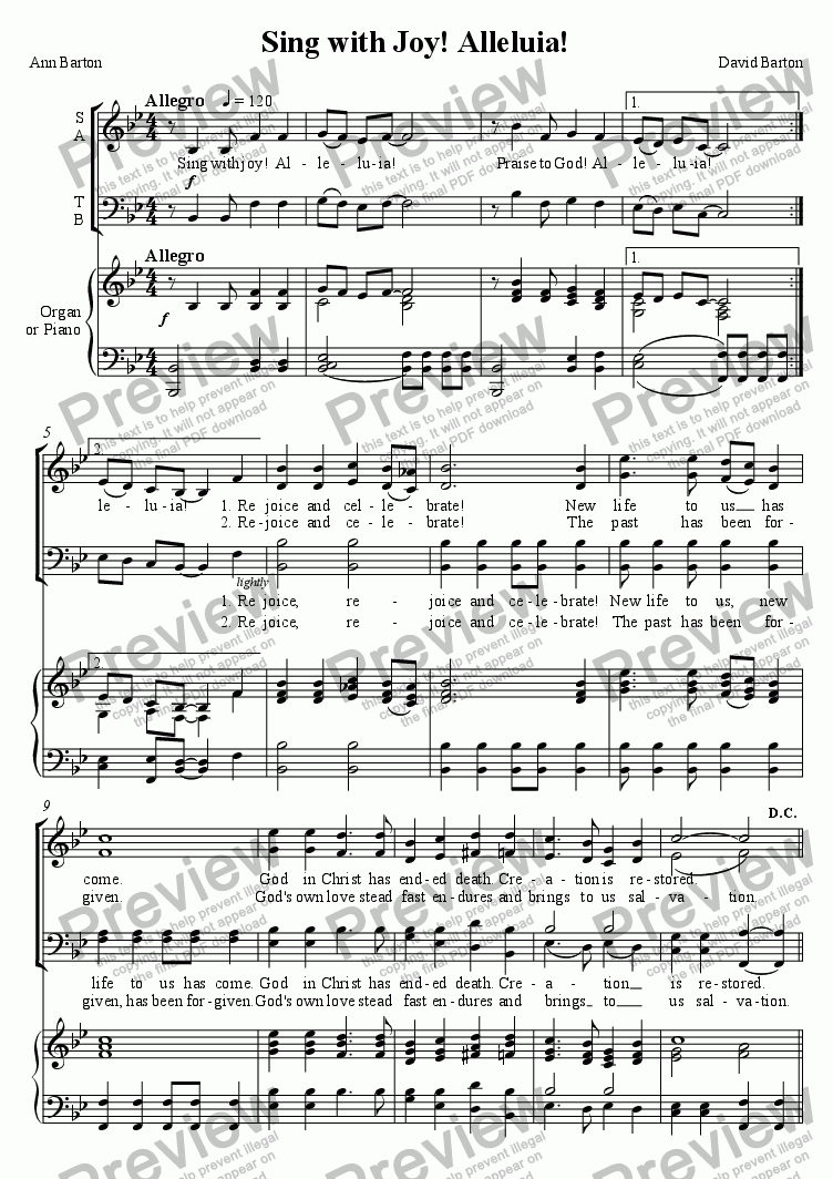 "page one of ""Sing with Joy! Alleluia!"" (Easter) SATB version (with Organ or Piano)"