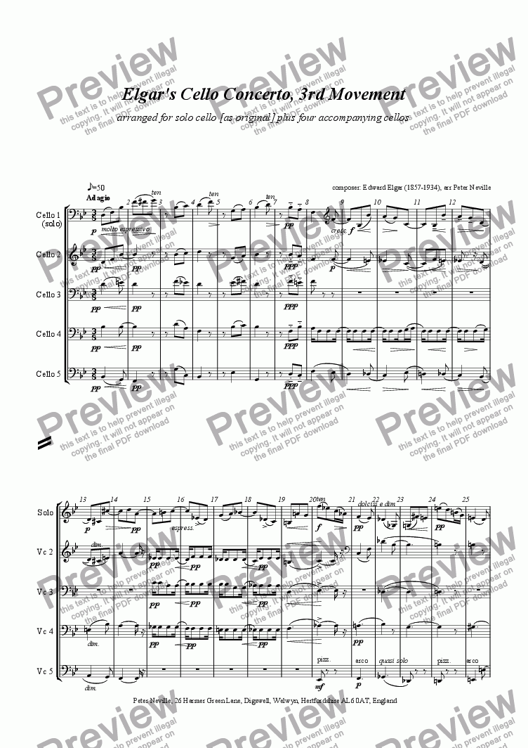 page one of Elgar's Cello Concerto Slow Movement arrangement