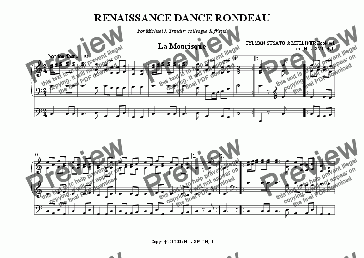 page one of RENAISSANCE DANCE RONDEAU  for Organ