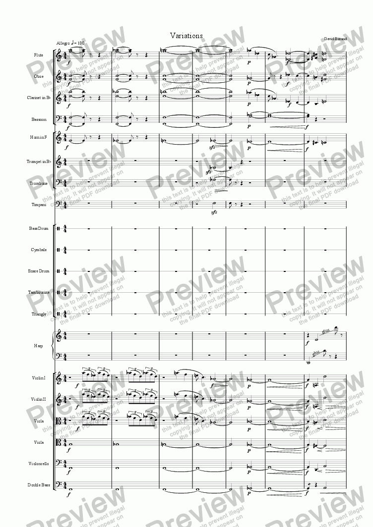 page one of Orchestral Variations