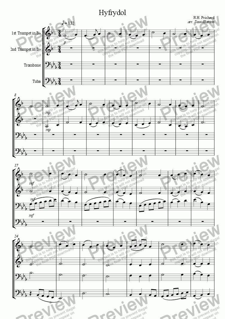 "page one of ""Hyfrydol"" for Brass Quartet"