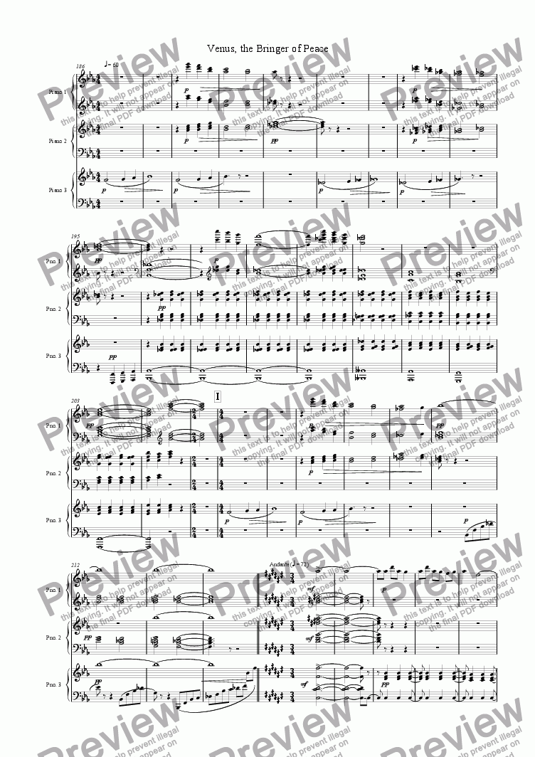 "page one of Venus from ""The Planets"" Suite"
