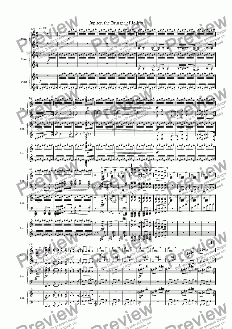 "page one of Jupiter from ""The Planets"" Suite"