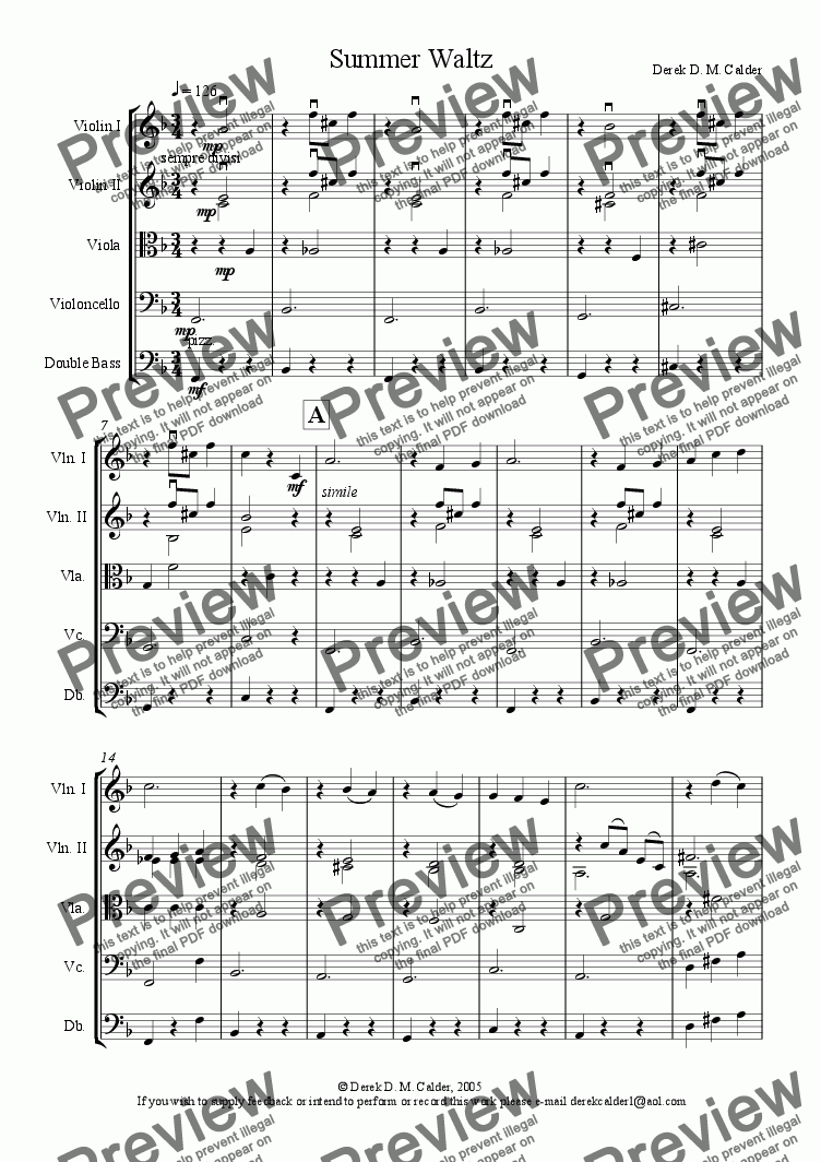 page one of SUMMER WALTZ for Strings