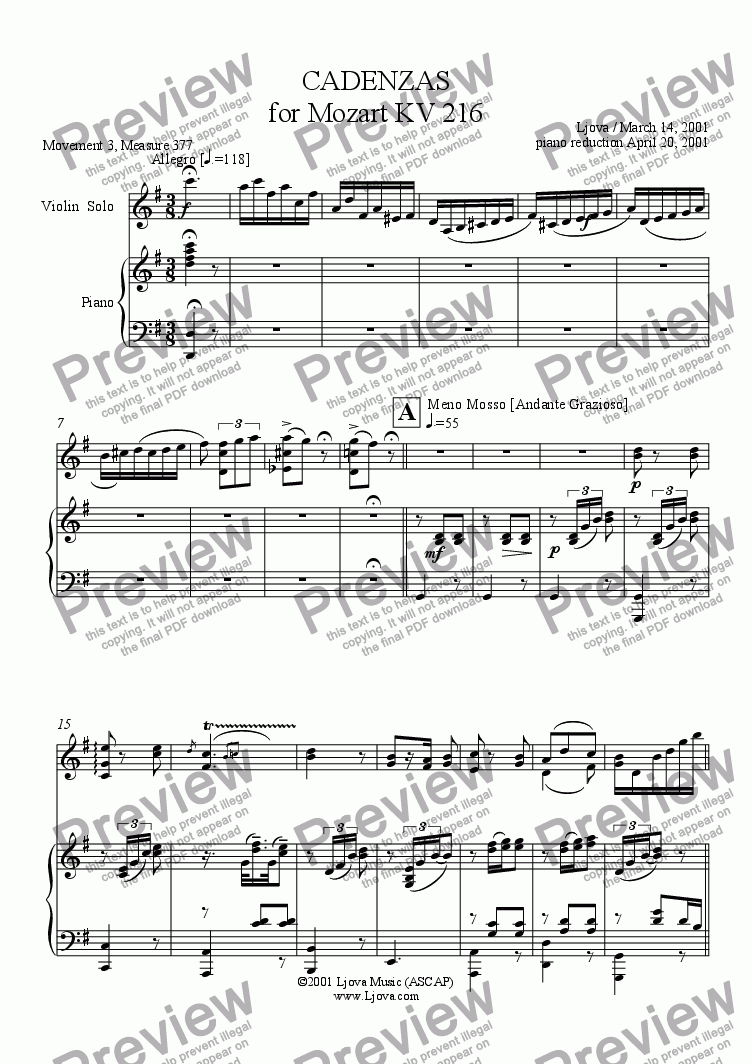 page one of Original Cadenza for Mozart's G Major Violin Concerto, KV216  (3rd Movement, piano reduction)