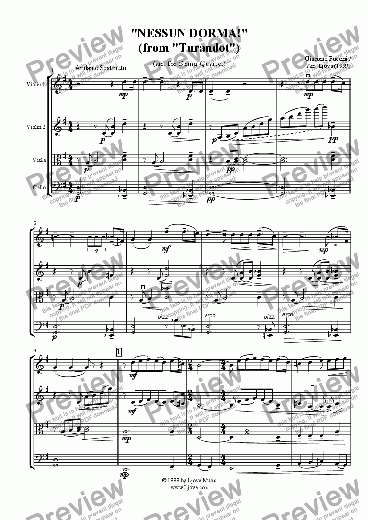 "page one of ""Nessun Dorma!"" from ""Turandot"""
