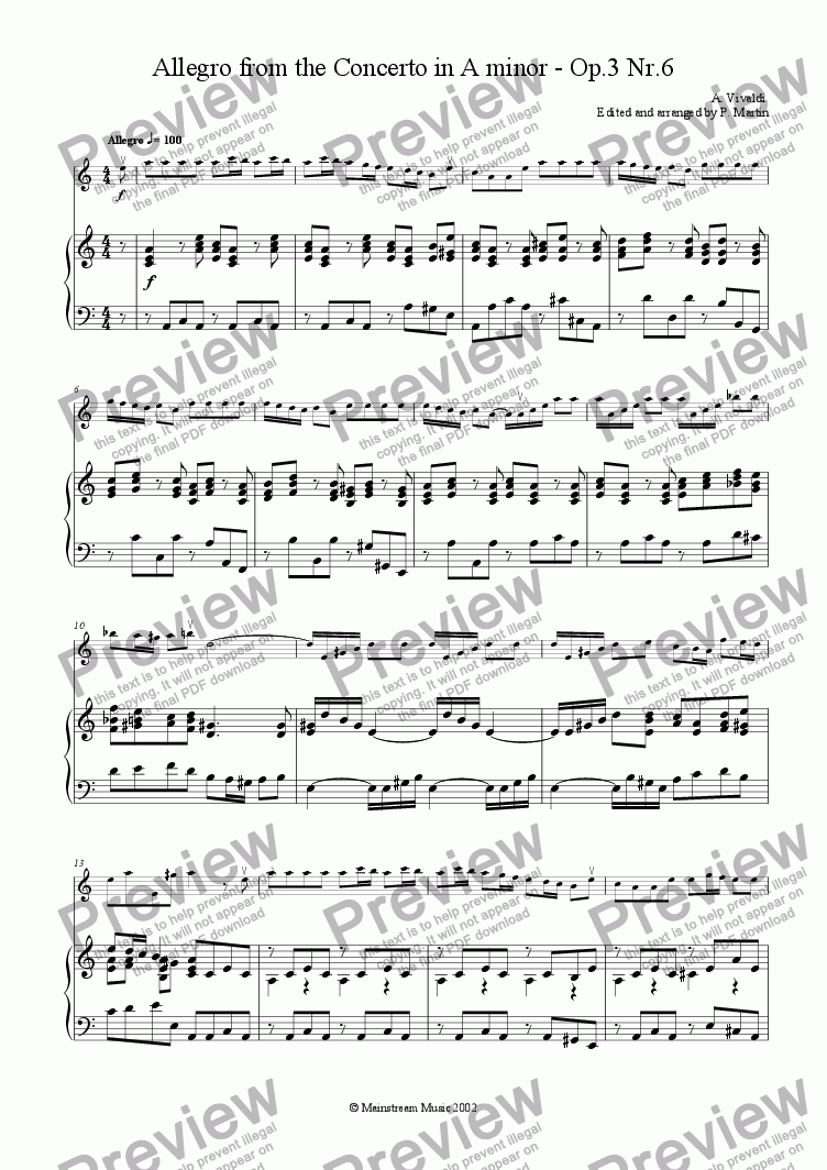 page one of Allegro from the Concerto in A Minor
