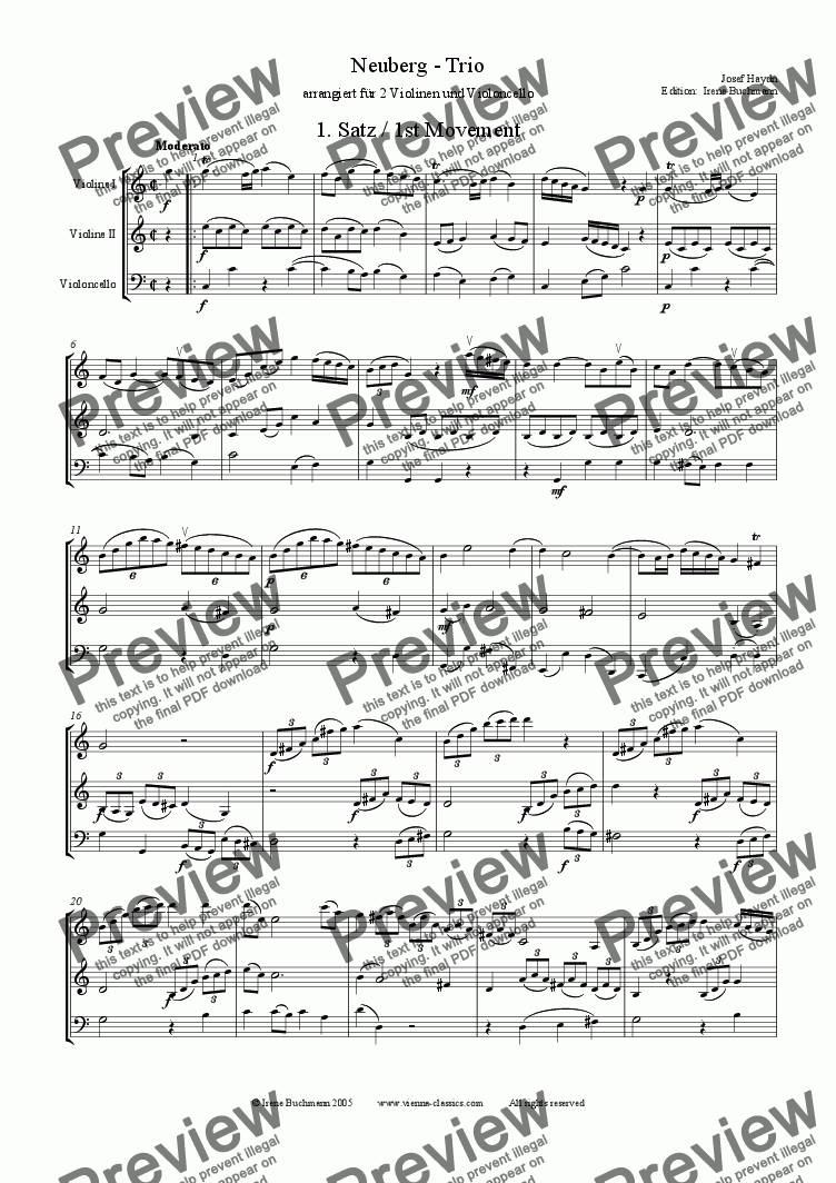 page one of Haydn Neuberg Trio 1, 2Vl+VcASALTTEXT