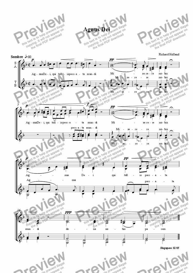 page one of Agnus Dei