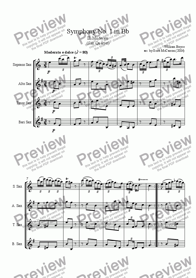 page one of Symphony No. 1 in Bb - II. Moderato