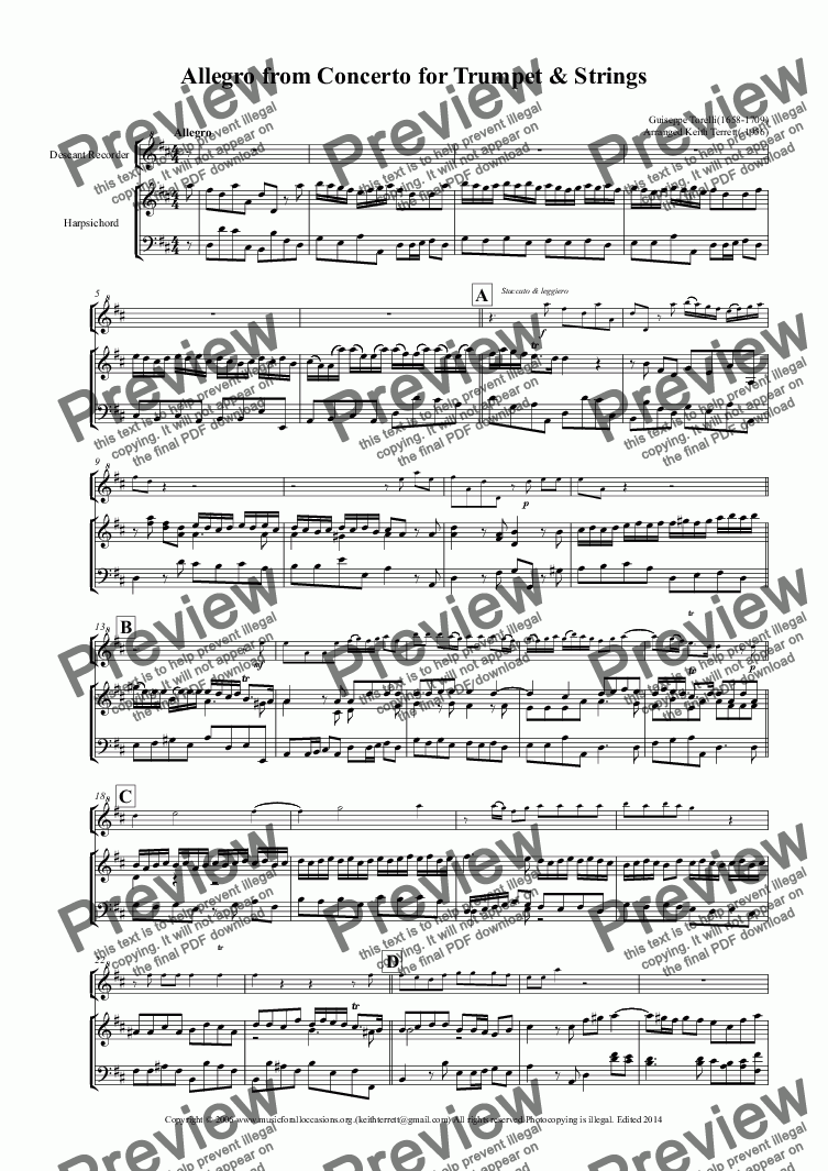 page one of Allegro from the Trumpet Concerto in D arr. for Descant Recorder & KB