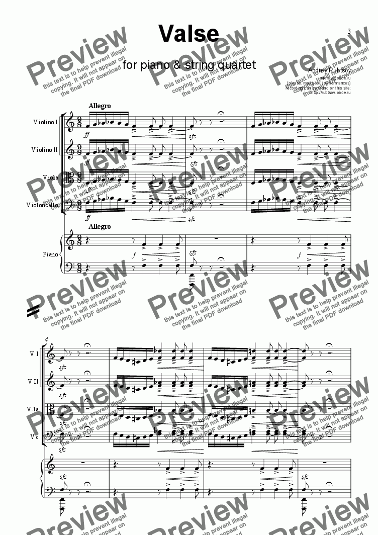 page one of Valse for Piano and String Quartet
