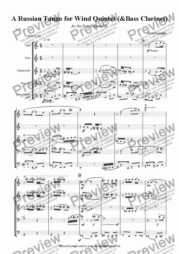 "page one of ""A Russian Tango For Wind Quintet"" (with Bass Clarinet)"
