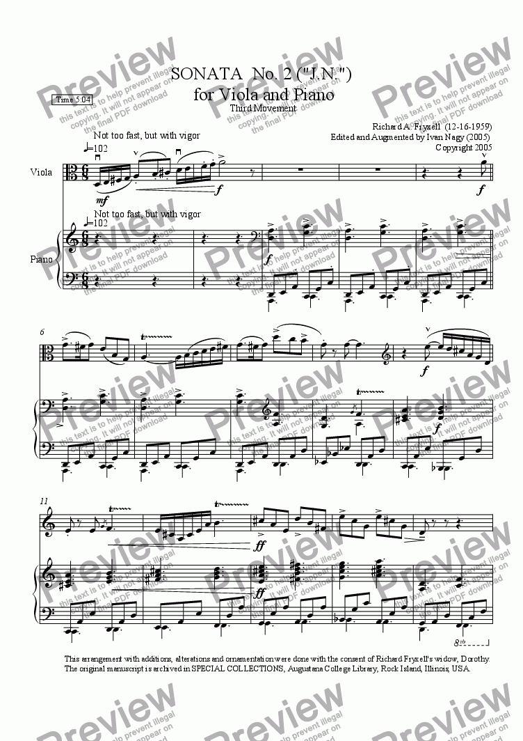 page one of SONATA No. 2 (J.N.) for Viola and Piano, Third Movement