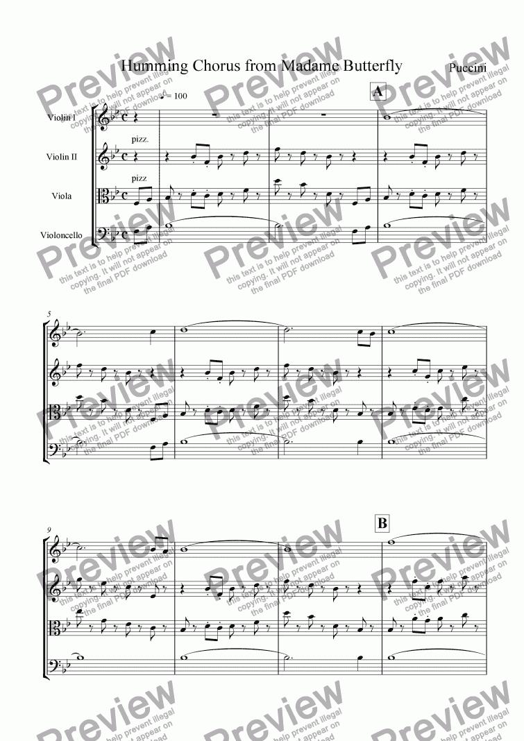 Humming Chorus for String quartet by Puccini - Sheet Music PDF file to  download