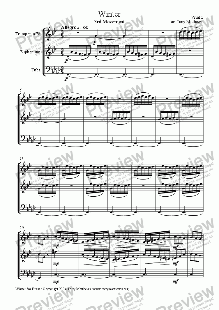 page one of Winter (3rd Movement) arr Brass Trio