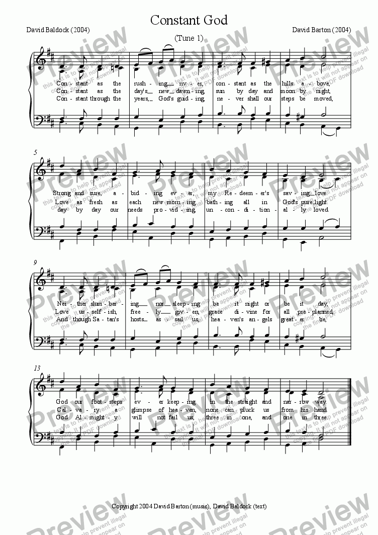 "page one of ""Constant God"" Hymn Setting"
