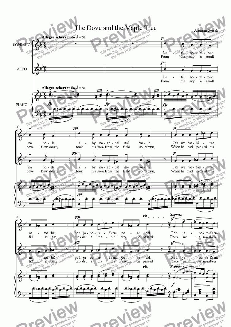 page one of The Dove and the Maple Tree; Op. 32, No. 6